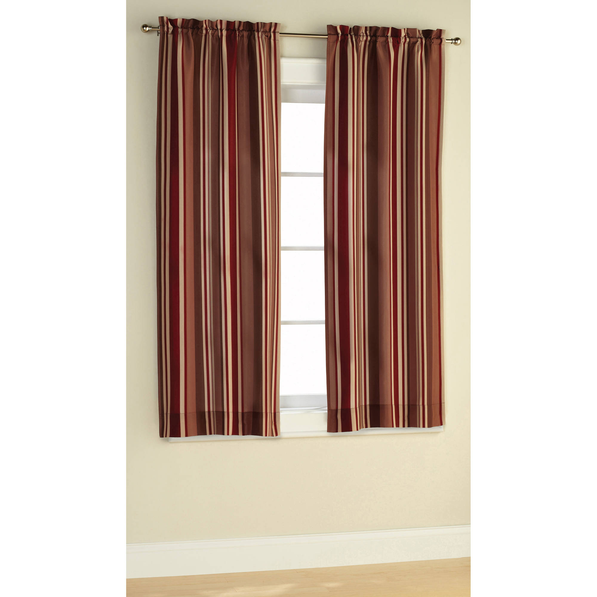 Mainstays Poly Duck Stripe Curtain Panel, Set of 2