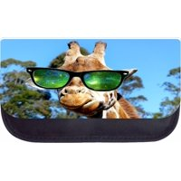 """Giraffe in Galaxy Glasses  - 5"""" x 8.5"""" Black Multi-Purpose Cosmetic Case - with 2 Zippered Pockets and Nylon Lining"""