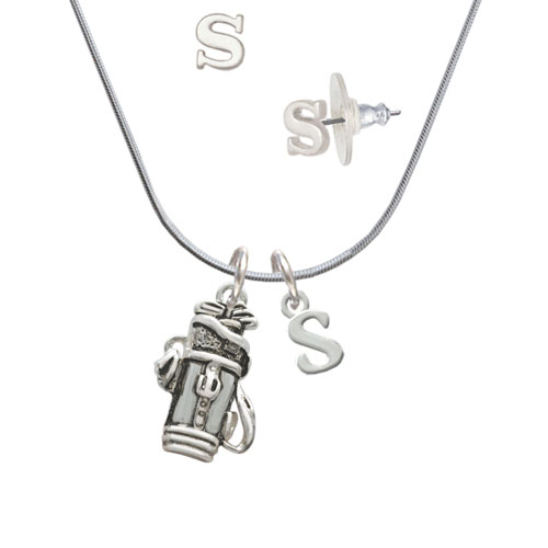 Golf Club Bag S Initial Charm Necklace and Stud Earrings Jewelry Set by Delight and Co.