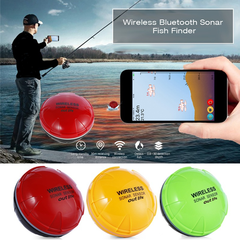 XF-06 Portable Wireless Bluetooth Fish Detection Sonar Fish Finder for iOS and Android Devices, Red