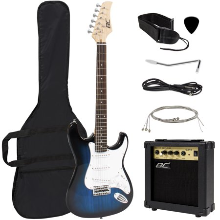 Best Choice Products 39in Full Size Beginner Electric Guitar Starter Kit w/ Case, Strap, 10W Amp, Strings, Pick, Tremolo Bar - Blue