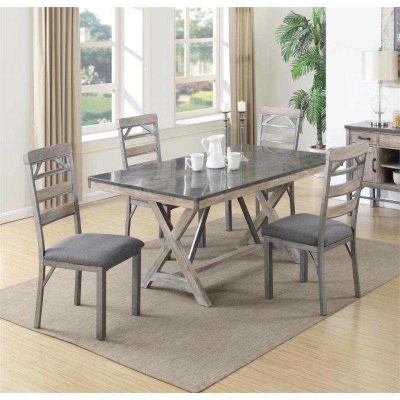Coaster Furniture 5 Piece Dining Set in Antique Elm