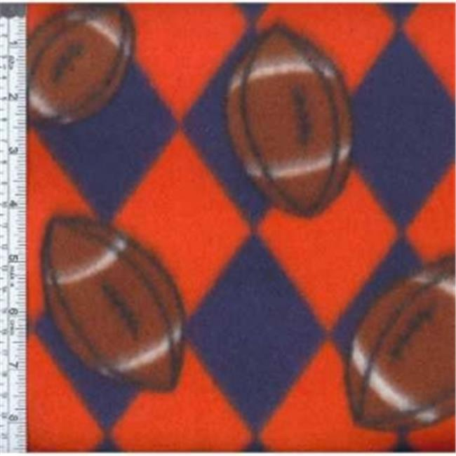 Textile Creations MFP-301-18 Sport Fleece, Team Footballs Navy & Orange