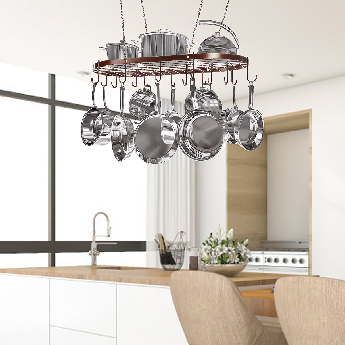 Image of: 33 Black Bronze Hanging Pot Pan Rack Decorative Oval Cookware Storage Rack Holder Ceiling Cookware Shelf With 15 Hooks For Kitchen Cookware Storage Walmart Com Walmart Com