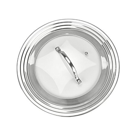 "Stainless Steel Dome Cover (Modern Innovations Elegant Stainless Steel and Glass Universal Lid, Fits All 7"" to 12"" Pots and Pans, Replacement Frying Pan Cover and Cookware Lids)"