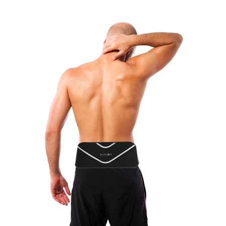 7e25527562 ... Back Support Compression Wrap- Unisex Lumbar Belt Compress for Pain  Relief, Swelling, Soreness, Recovery by Bluestone (Small/Medium) - Walmart .com