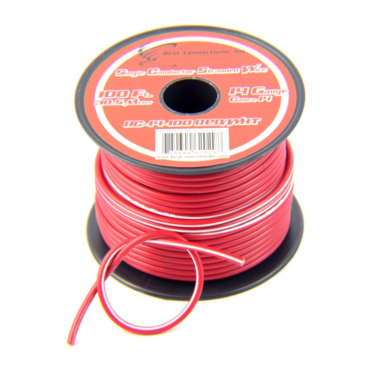 14 Gauge Red with White Stripe Tracer Wire - 100\' FT - Walmart.com