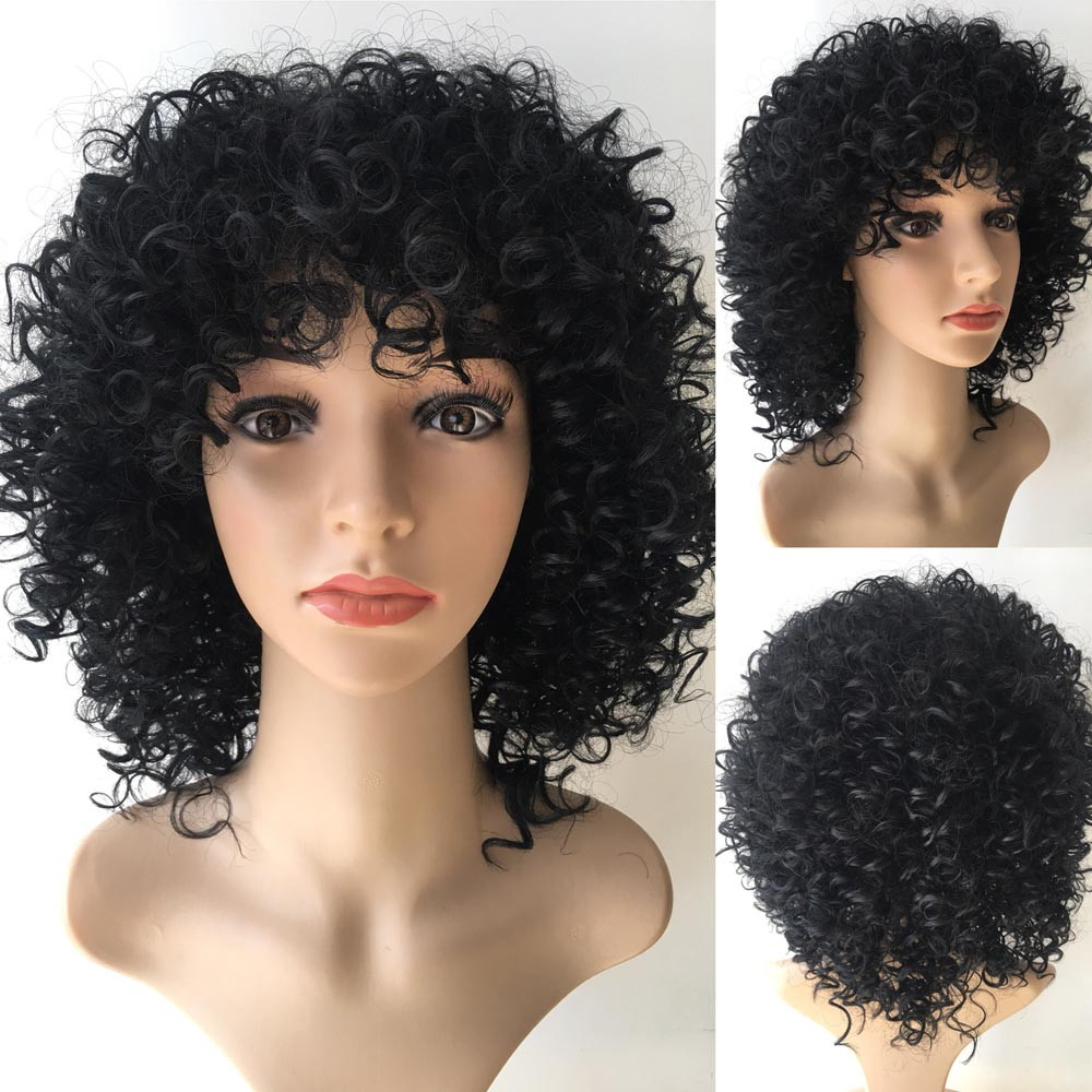 Tuscom Brazilian Short Curly Heat Resistant Bob Wave Black Natural Looking Women Wigs