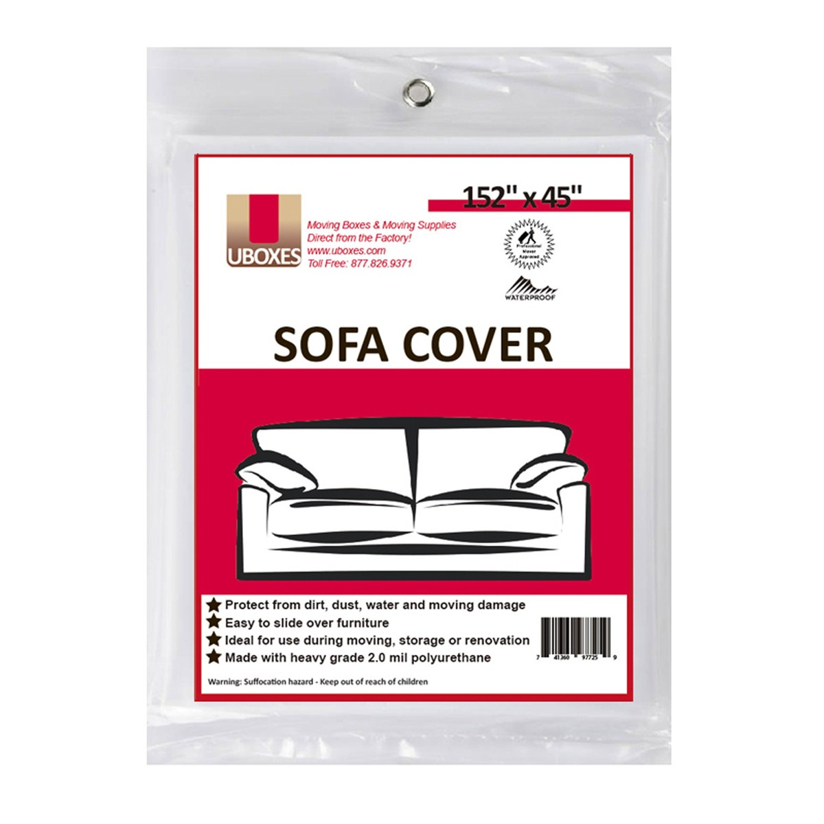 Uboxes Sofa Protective Poly Covers, 152 x 45 in, 13 Pack
