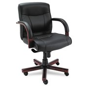 Alera Madaris Series Mid-Back Knee Tilt Leather Chair with Wood Trim, Supports up to 275 lbs., Black Seat/Back, Mahogany Base -ALEMA42LS10M