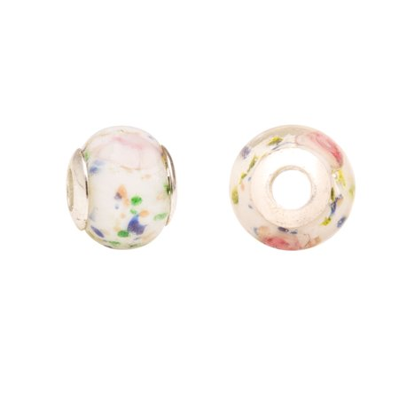White Floral Beauty Large Hole Beads Murano Lampwork European Glass Crystal Charms Beads Spacers Fit Pandora Troll Chamilia Carlo Biagi Zable Snake Chain Charm Bracelets 11.5x14mm 4pcs - Floral Beads