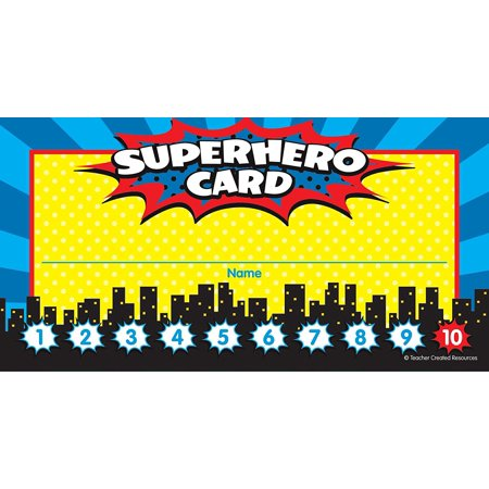Superhero Punch Cards (5607), Cards measure 5.75