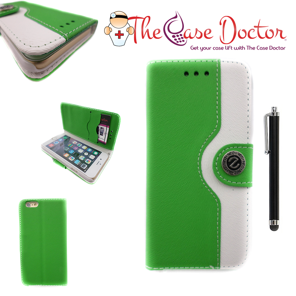 TCD iPhone 6 6S Two Tone Button PU Leather Wallet + Screen Protector & Stylus Pe