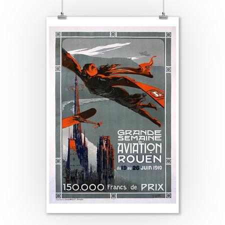 1910 Art Poster (Grande Semaine d'Aviation - Rouen Vintage Poster (artist: Villa) France c. 1910 (9x12 Art Print, Wall Decor Travel Poster) )