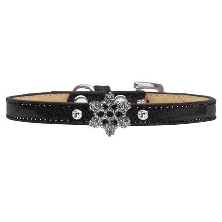 Holiday Charm Dog Collar Black Ice Cream Size 12 Snowflake