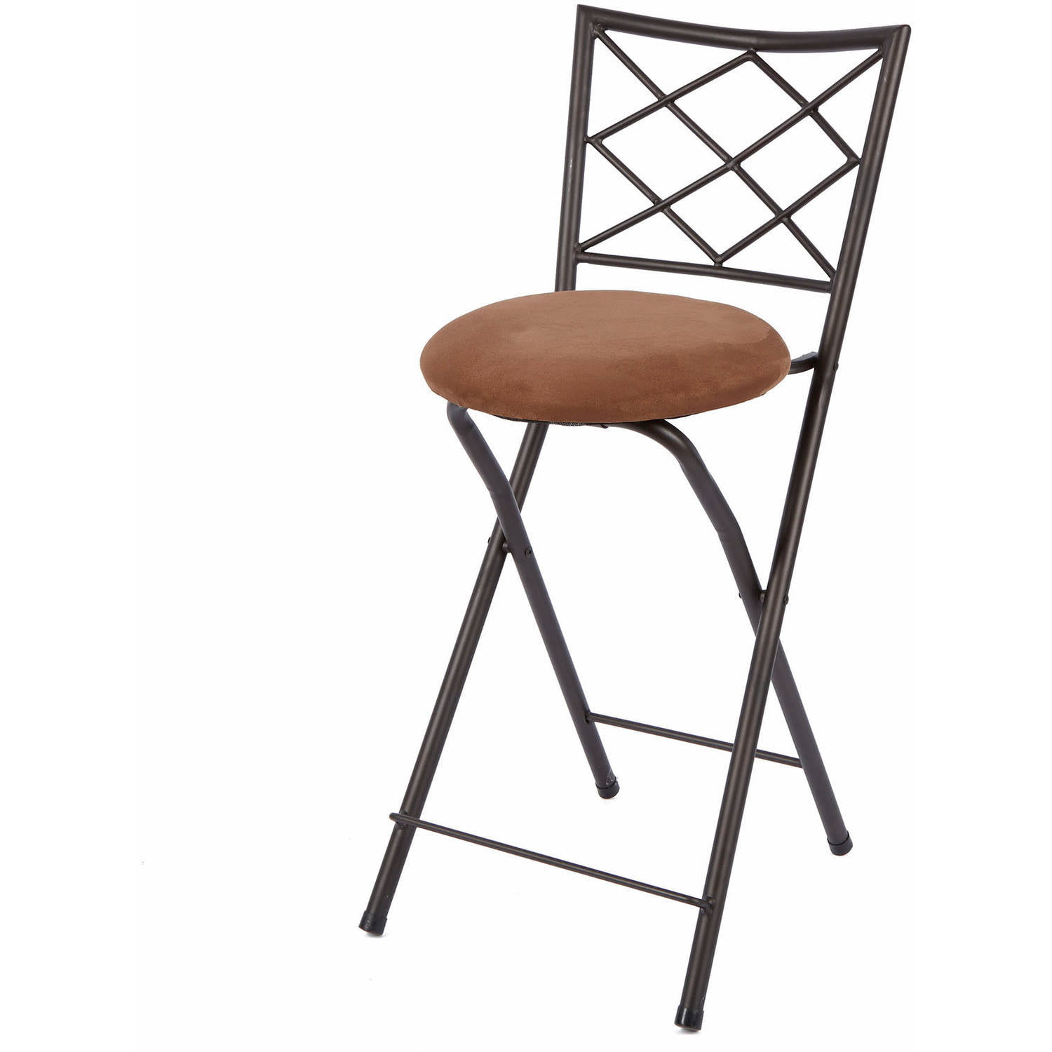 "Diamond X Back Folding 24"" Counter Stool Bronze Multiple Colors"