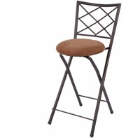"Diamond Metal X-Back Bronze 42"" Folding Stool, Tan"