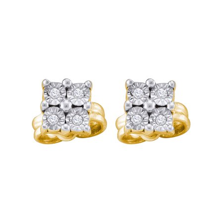 Yellow-tone Sterling Silver Womens Round Diamond Cluster Earrings 1/20 Cttw - image 1 de 1