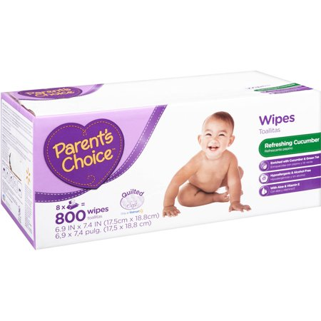 Parents Choice Cucumber Scent Baby Wipes, 8 packs of 100 (800 count)