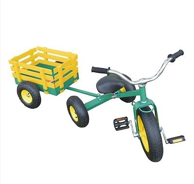 Sm Pull Green - Classic Tricycle with Wagon Set Pull Along Trike Toy Outdoors Kids Exercise All Terrain Cart Green