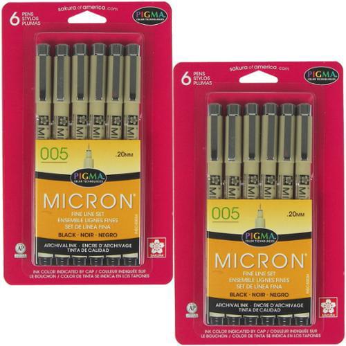 Sakura Pigma Micron 005 .20mm - 2 Sets of 6pk Black Color Ink Pen Fine Line Set