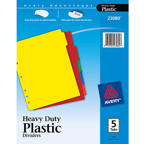 Avery Plastic Index Dividers, White Self-Stick Labels, Letter, 1 Set