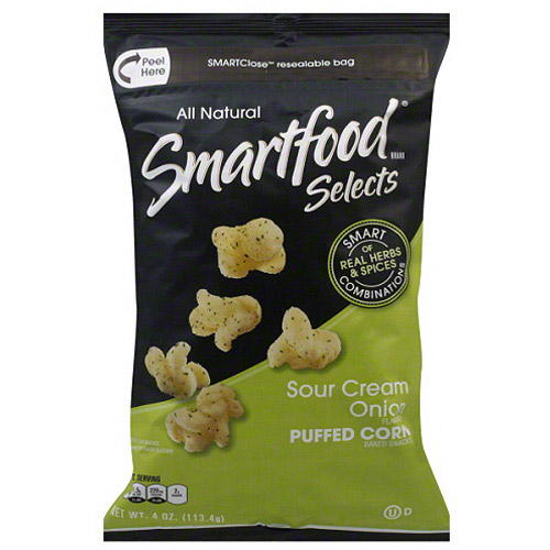 Smartfood Selects Sour Cream Onion Puffed Corn Baked Snacks, 4 oz, (Pack of 6)