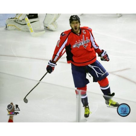 Alex Ovechkin celebrates his 1000th career NHL point against the Pittsburgh Penguins at Verizon Center on January 11 2017 in Washington DC Photo Print