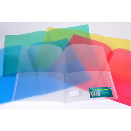 Nova Filer Twin Pocket Poly Folder , regular weight. 24pcs value (Durable Clear View Folder)