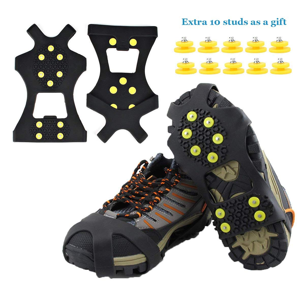 10PCS//Pack Anti Slip Snow Ice Grips Stud Crampon Spikes Durable Grips Grippers Crampon Cleats Replacement Accessories for Winter Outdoor Hiking