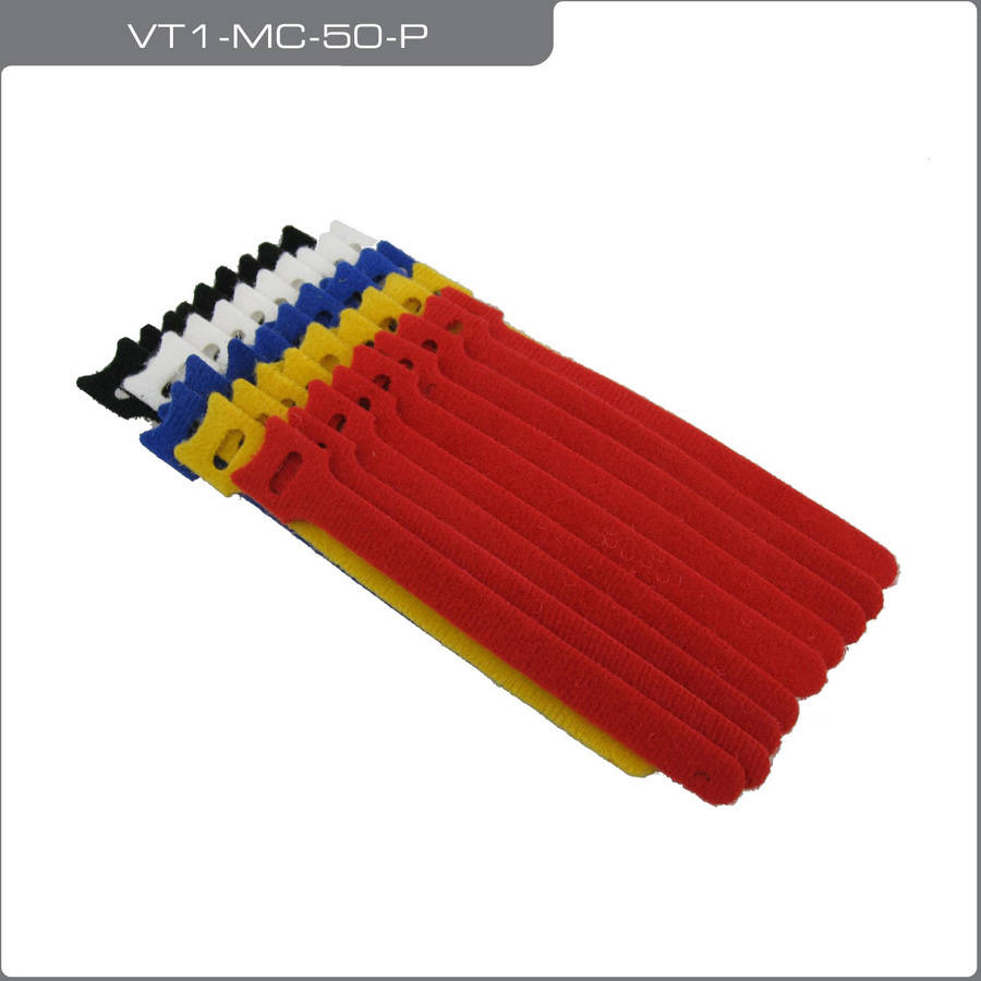 "QualGear VT1-MC-50-P Self-Gripping Cable Ties, 1/2"" x 6"", Assorted, 50 Ties in Poly Bag"