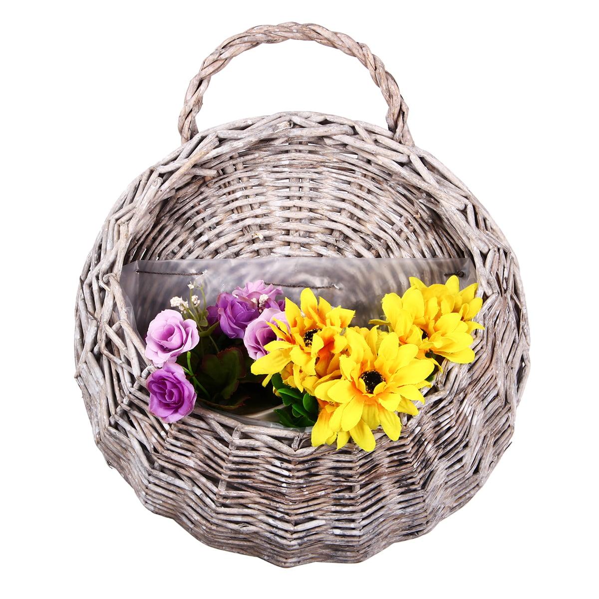 wicker rattan flower pot plant stand holder diy home wall hanging basket decor. Black Bedroom Furniture Sets. Home Design Ideas