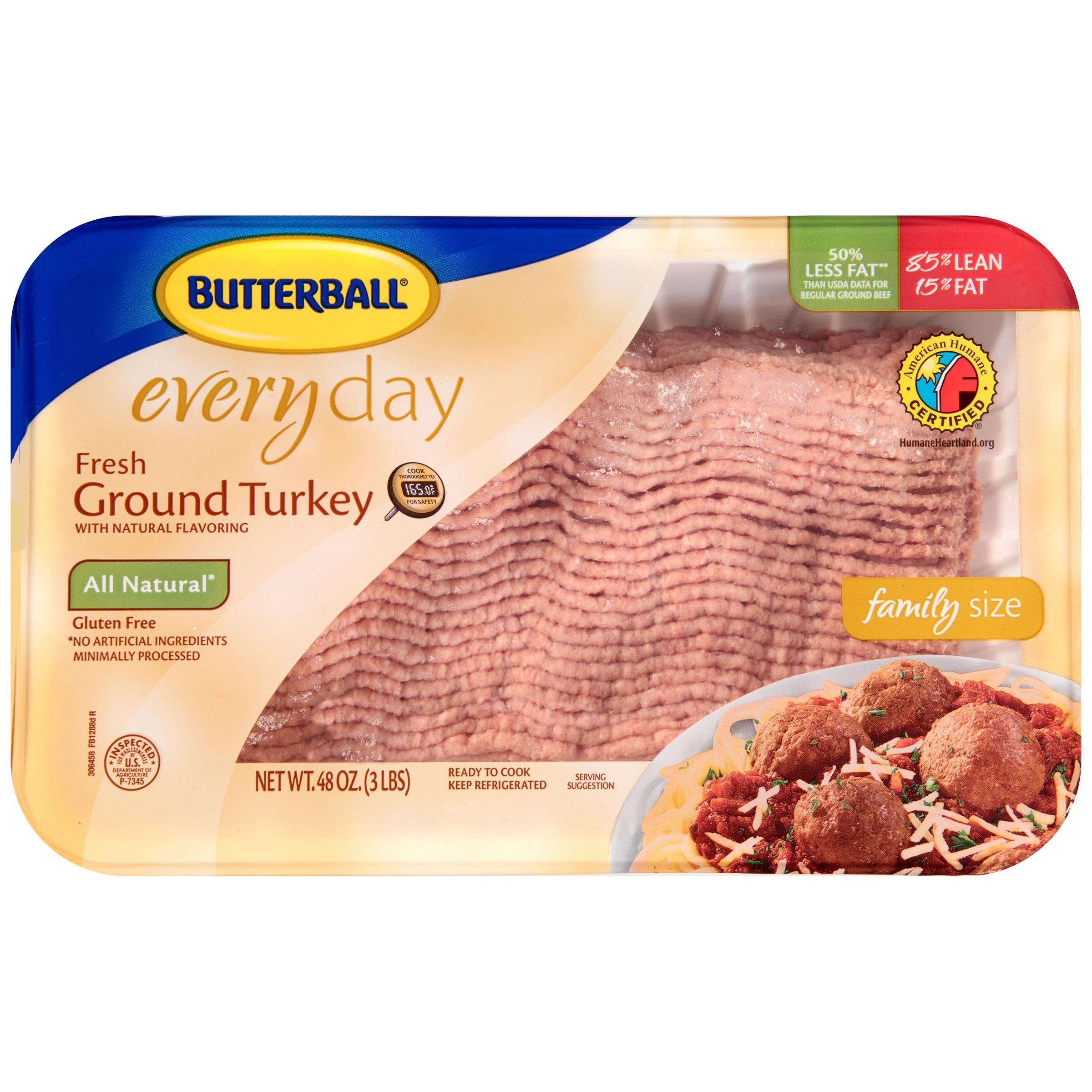 Butterball 85% Lean/15% Fat Fresh Ground Turkey, 3.0 lb
