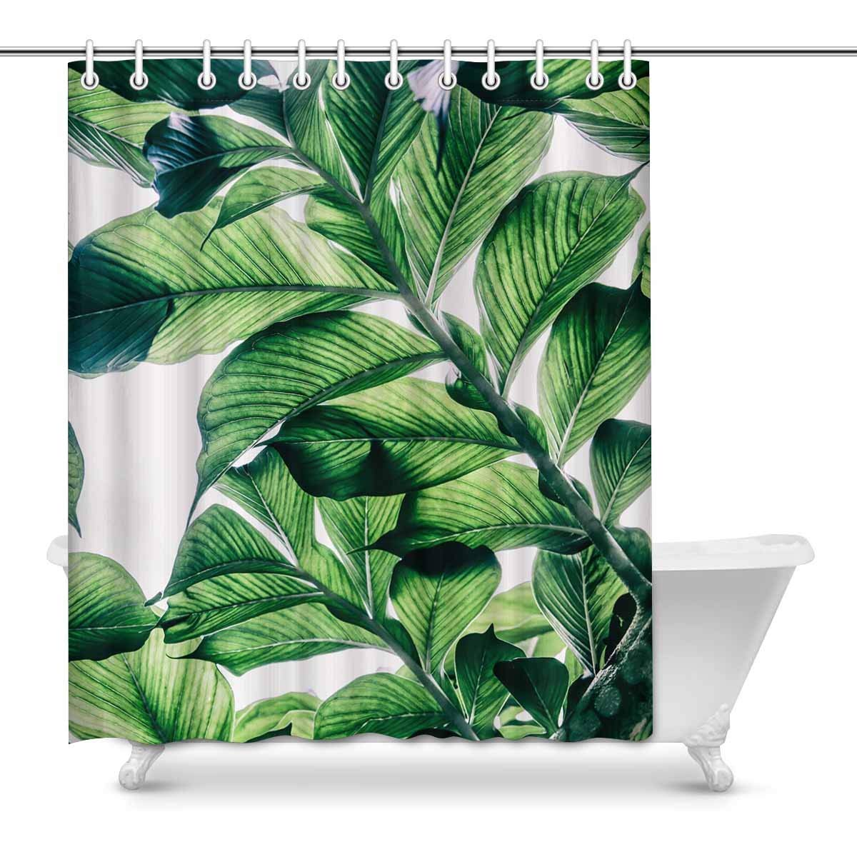 GCKG Green Leaf Shower Curtain Tropical Jungle Polyester Fabric Bathroom Sets 60x72 Inches