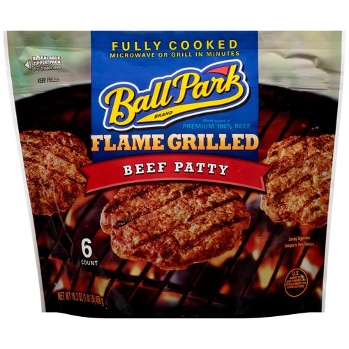 Ball Park Flame Grilled Beef Patty, 6 ct, 16.2 oz