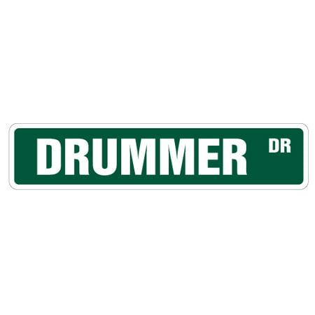 DRUMMER Street Sign drum sticks cymbal music band | Indoor/Outdoor | 24