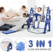 3 in 1 Hide & Seek Climber and Swing, Children's Slide & Swing Set,With Basketball Hoop, Indoor Outdoor Game Set Gift For Kid Child Toddlers