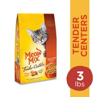 Meow Mix Tender Centers Salmon & White Meat Chicken Flavors Dry Cat Food, 3-Pound Bag