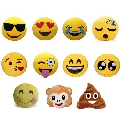 Set of 4 Emoji Pillows 12.5 Inch Large Yellow Smiley Emoticon - Random Set of 4.