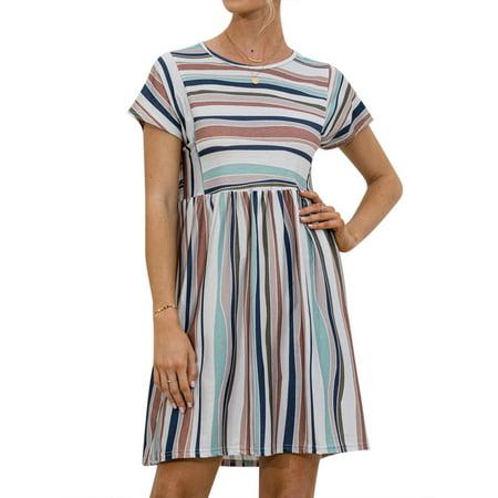 Women Short Sleeves Round Neck Stripe Printed A-line Mini Dress
