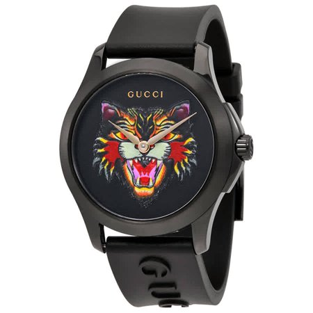 Gucci G-Timeless Black with Cat Motif Dial Rubber Watch YA1264021