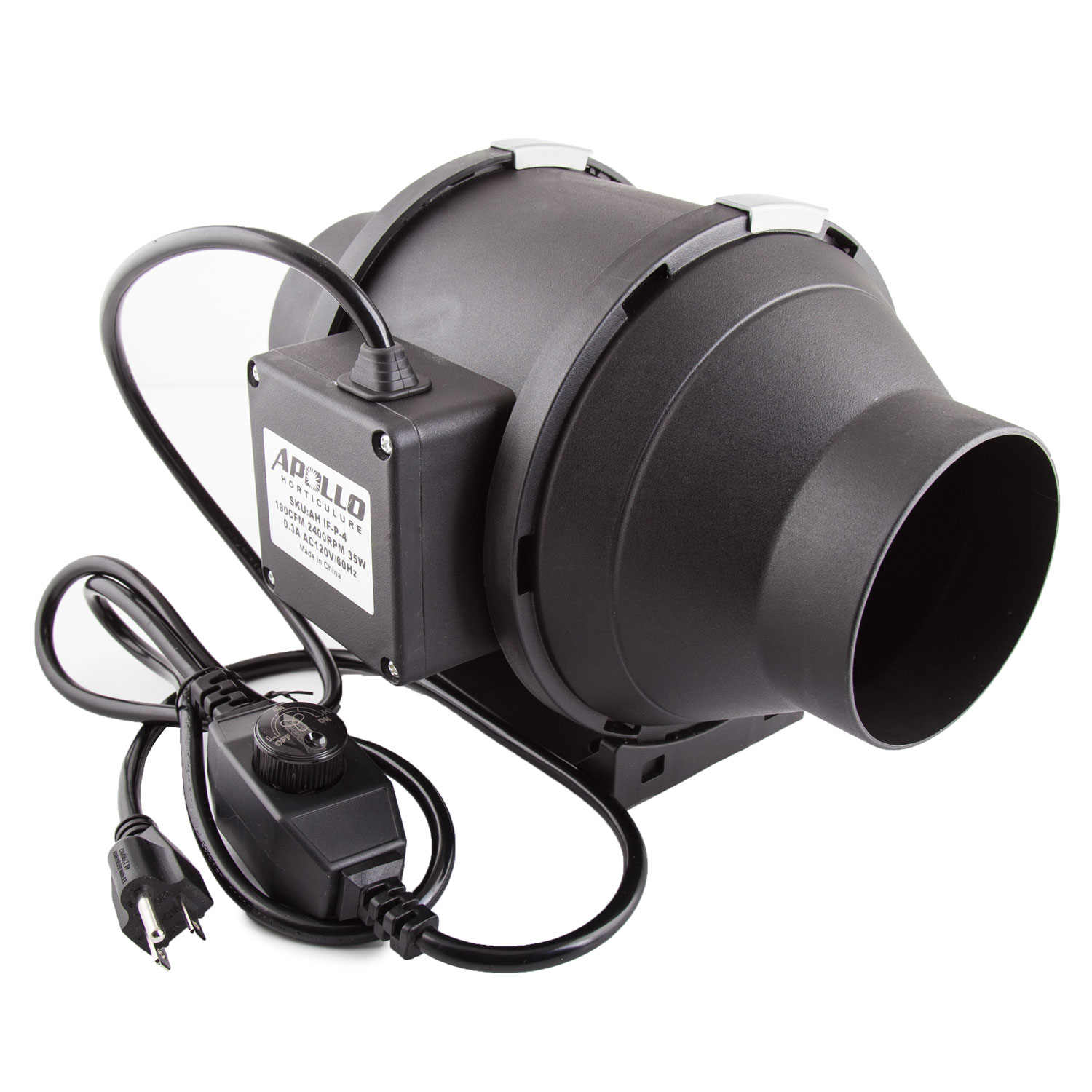 "Apollo Horticulture 4"" Inch 190 CFM Inline Duct Fan with Built in Variable Speed Controller for Ventilation"