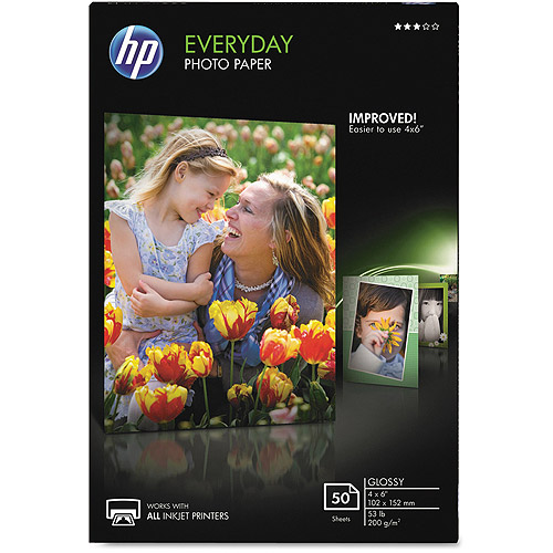 """HP Everyday Glossy Photo Paper, 53 lbs, 4"""" x 6"""", 50 Sheets/Pack"""