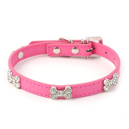 Metal Buckle PU Artificial Rhinestone Bone Decor Dog Collar Fuchsia Size S