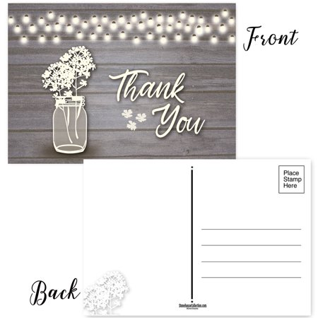 Rustic Wedding Card Box (Set of 50 Rustic Thank You Postcards - 4 x 6 Wedding Thank You)