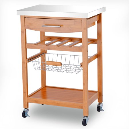 Kitchen Island Shelves - Gymax Bamboo Rolling Kitchen Trolley Storage Island Serving Cart Stainless Steel Top