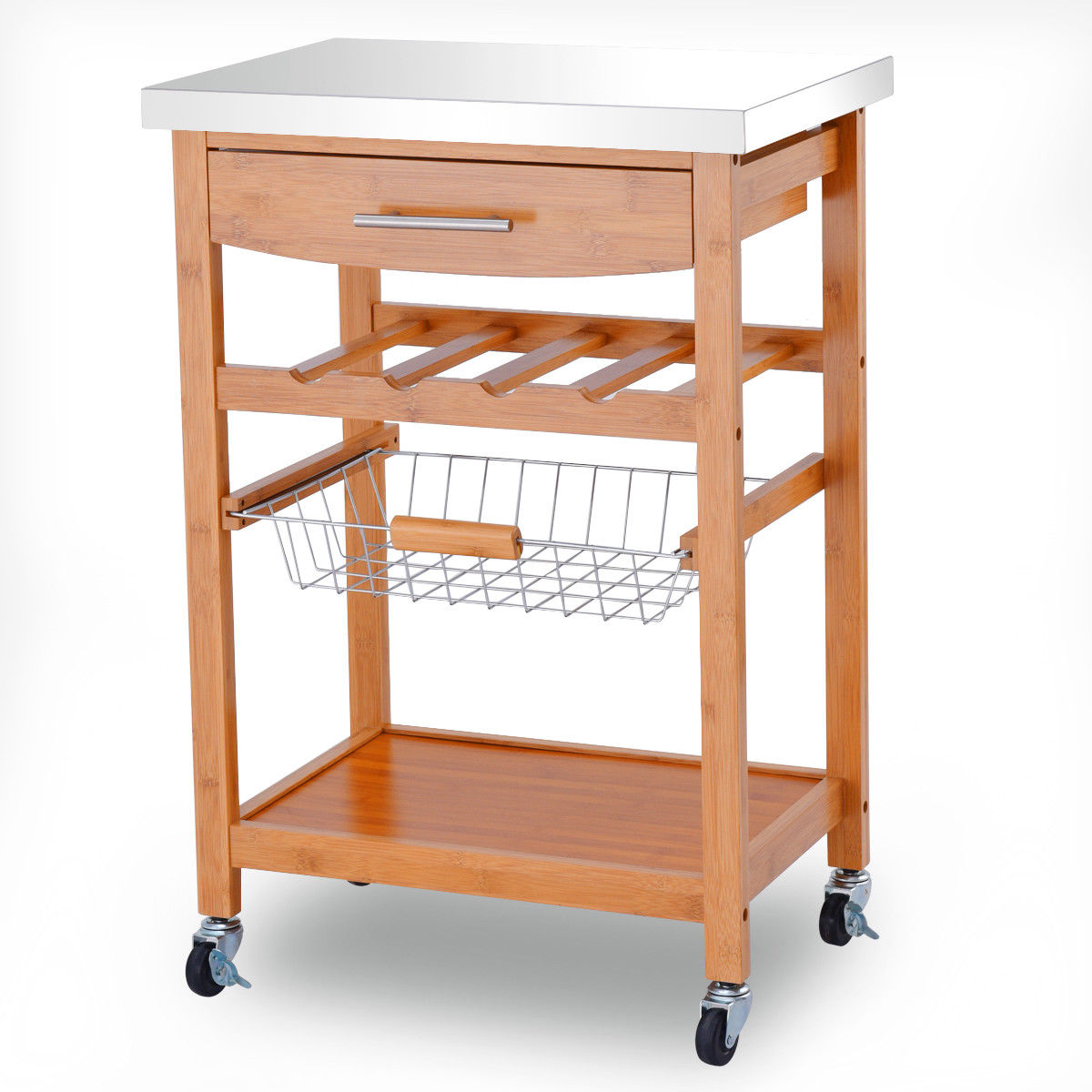 Gymax Bamboo Rolling Kitchen Island Wine Rack Storage Trolley Cart Stainless Steel Top