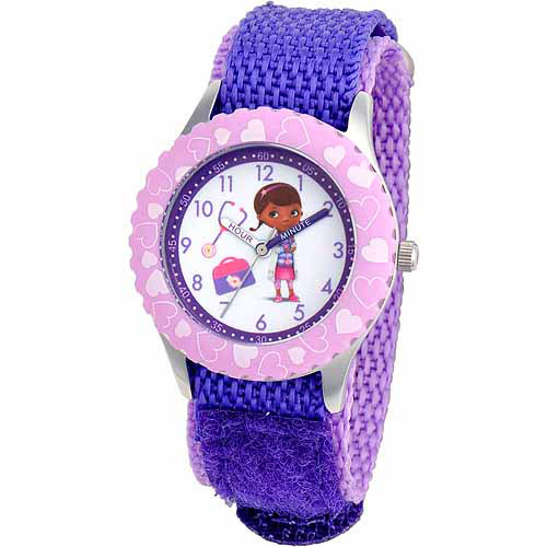 Disney Doc McStuffins Girls' Stainless Steel Watch, Purple Strap