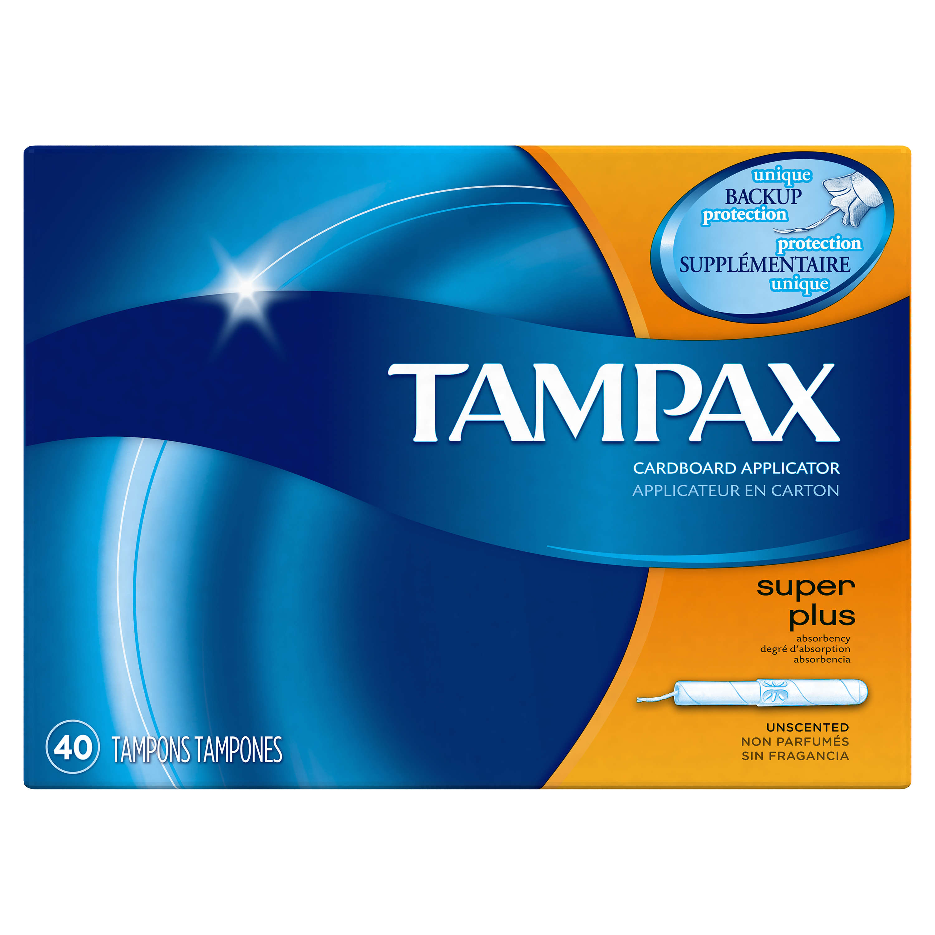 Tampax Pearl Tampons Super Plus, Unscented, 40 Count