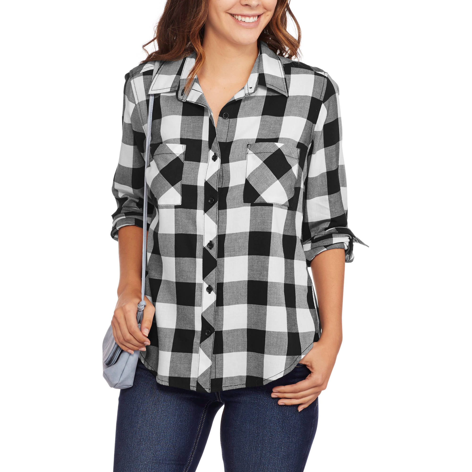 Faded Glory Women's Button Front Plaid Shirt with Roll Cuff Detail